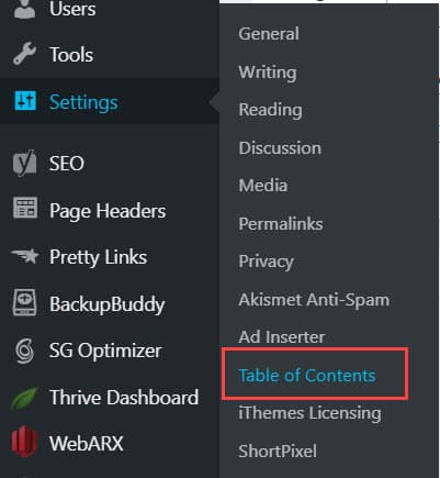 Table of Content Settings