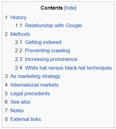Table of Contents of SEO in Wikipedia