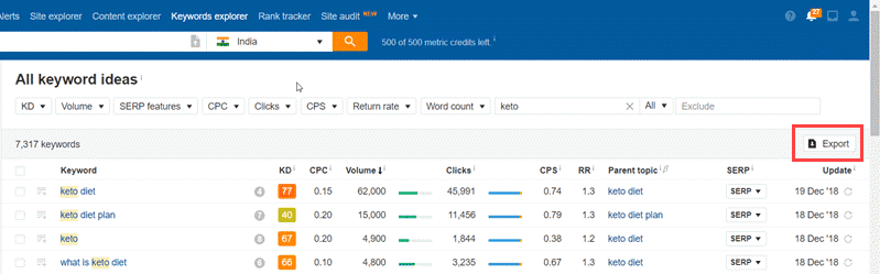 Export Data from AHREFS
