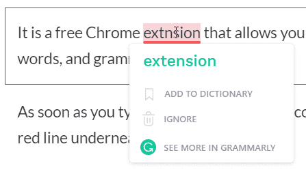Grammarly Extension Showing correct spelling