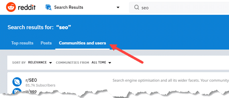 Search Results in Reddit - Click on Communities and Users