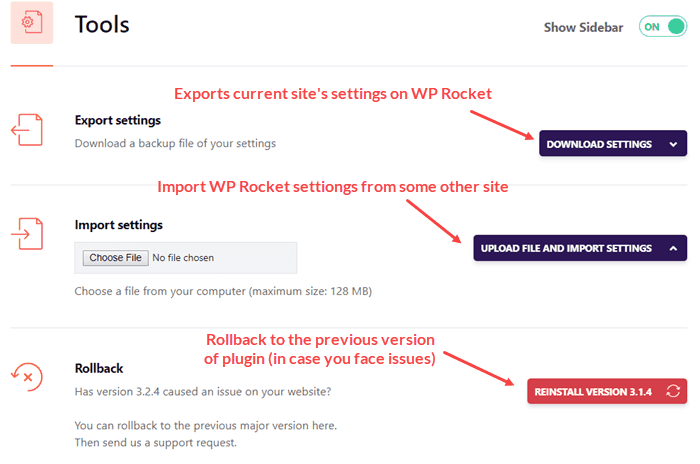 Tools settings in WP Rocket